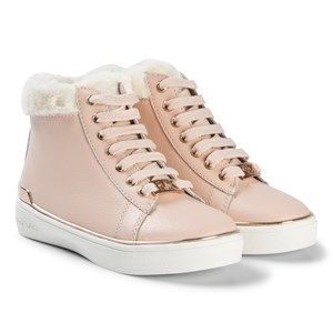 Image of Michael Kors Blush and Rose Gold Faux Fur Lined Zip Zia Ivy Veera Trainers 29 (UK 11) (3065534715)