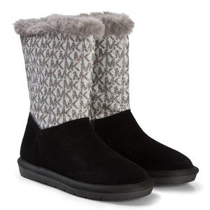 Image of Michael Kors Black and Silver Logo Faux Fur Lined Zia Margot Lin Boots 30 (UK 12) (3065534925)