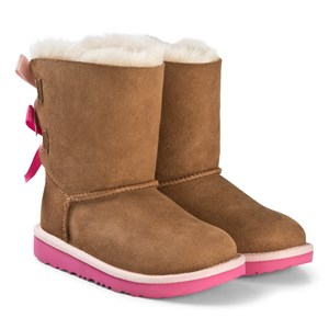 Image of UGG Pink and Chestnut Bailey Bow II Boots 30 (UK 12 / US 13) (3065523779)