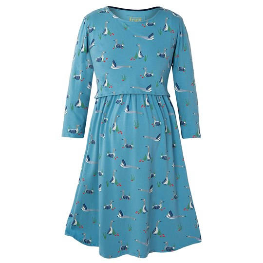 Frugi Blue Geese Jersey Smock Dress Canada Geese Blue