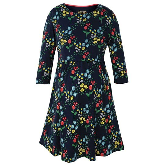 Frugi Navy Forest Jersey Smock Dress Forest Floral Navy