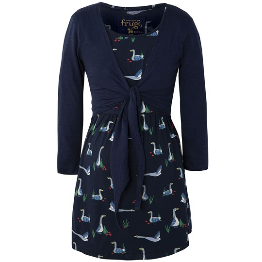 Frugi Navy Geese Top with Cardigan Canada Geese Navy
