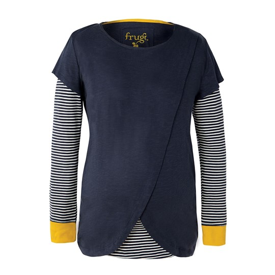 Frugi Navy Stripe Swoop Tee Navy