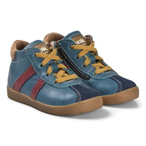 Image of Noël Blue and Red Zip Leather Mini Bono Hi Tops 22 (UK 5) (3065537543)