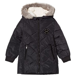 Image of IKKS Black Shevron Quilted Long Line Hooded Coat with Mittens 10 years (3065544583)
