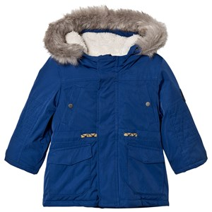 Image of IKKS Blue Teddy Lined Coat with Faux Fur Hood 12 months (3065544673)