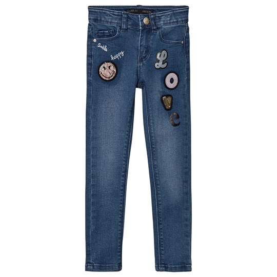 IKKS Blue Mid Wash Love and Badge Print Jeans 86