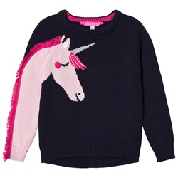 Joules Navy Geegee Knitted Unicorn Sweater