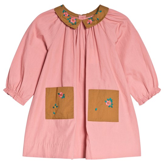 Bonpoint Pink and Tan Embroidered Dress 122