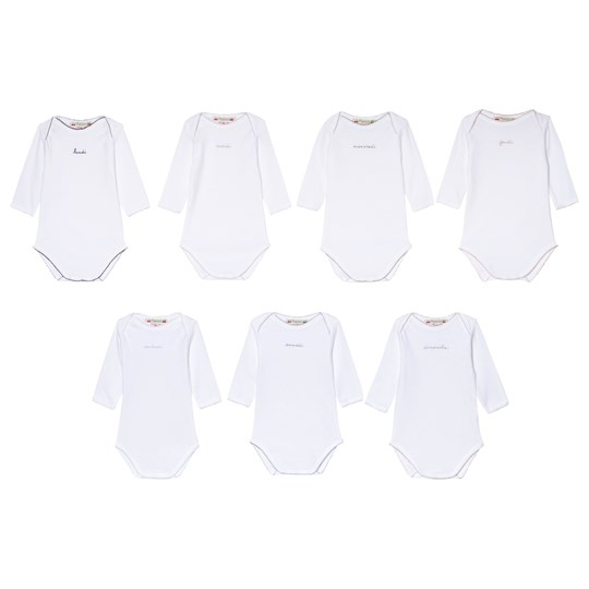 Bonpoint 7-Pack White Days of the Week Baby Bodies 000