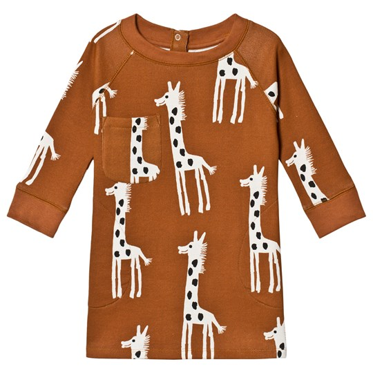 nadadelazos Njamala Giraffe Sweatshirt Dress Lion Brown Lion Brown