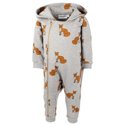 Mini Rodini Fox Onesie Grey Melange