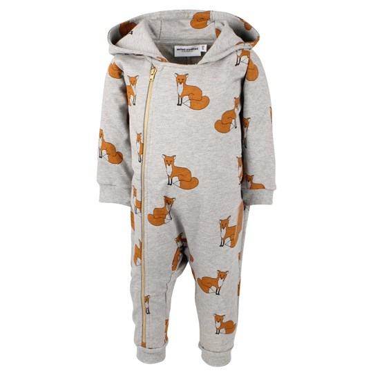 Mini Rodini Fox Onesie Grey Melange Sort