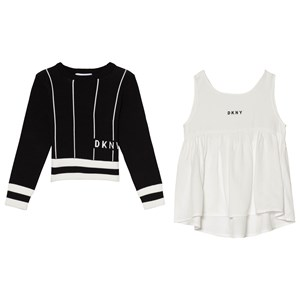 Image of DKNY Black 2 in 1 Knit Jumper and Vest Outfit Set 10 years (3065518901)