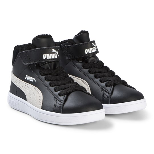 Puma Black Smash v2 Mid Fur Kids Sneakers Puma Black