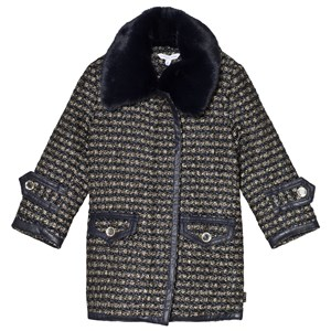 Image of Little Marc Jacobs Black and Beige Coat with Black Fur Collar 10 years (3065519361)