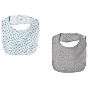 Image of Noa Noa Miniature 2-Pack Blue and Grey Baby Bibs (3065514507)