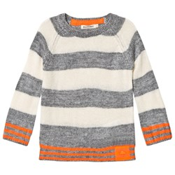 Billybandit Grey and Cream Stripe Sweater with Orange Hem