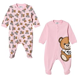 Moschino Kid-Teen 2 Pack of Pink All Over Bear Print and Large Bear Babygrows in Gift Box