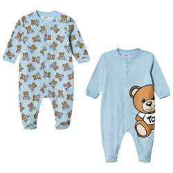 Moschino Kid-Teen 2 Pack of Blue All Over Bear Print and Large Bear Babygrows in Gift Box