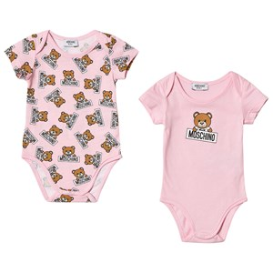 Image of Moschino Kid-Teen 2 Pack of Pink Bear Print Bodies 12-18 months (3065554557)