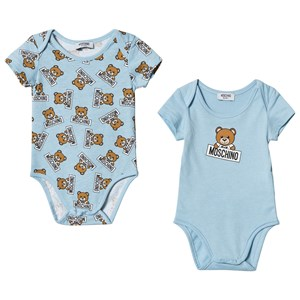 Image of Moschino Kid-Teen 2 Pack of Blue Bear Print Bodies 12-18 months (3065554581)