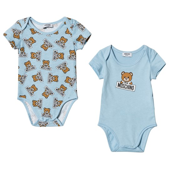 Moschino Kid-Teen 2 Pack of Blue Bear Print Baby Bodies 83976