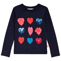 Billieblush Navy Sequin and Tulle Heart Sweater