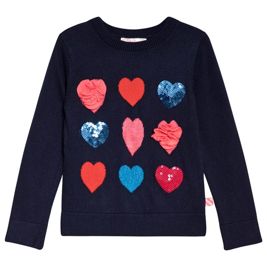 Billieblush Navy Sequin and Tulle Heart Sweater 85T