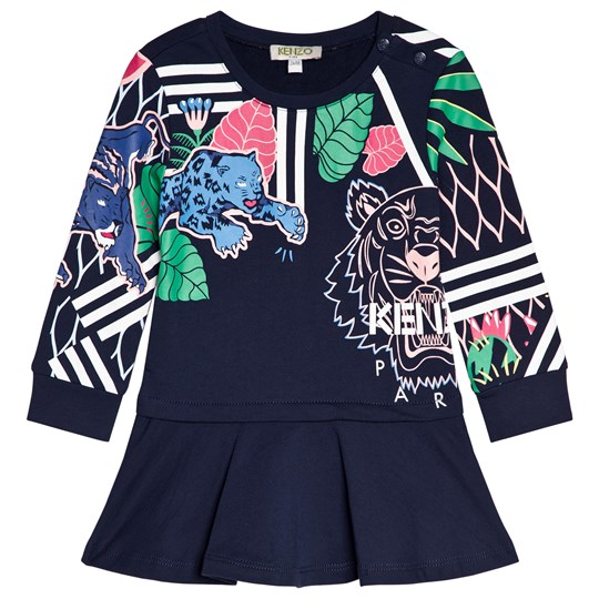 Kenzo Navy Tiger and Friends All Over Print Sweat Dress 04