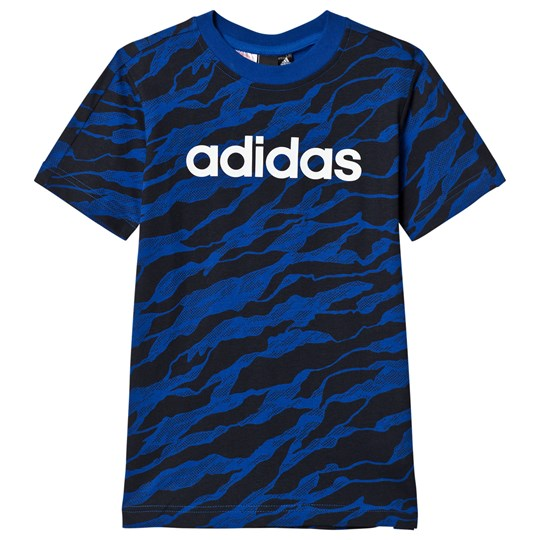 adidas Performance Blue Tiger Print Branded T-Shirt collegiate royal/black/white