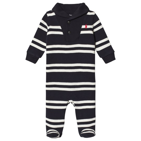 Ralph Lauren Navy and White Knit Shawl Collar Footed Baby Body 002
