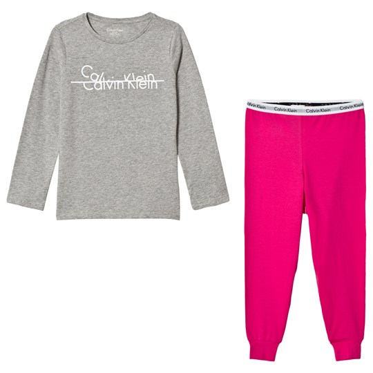 Calvin Klein Grey and Pink Branded Pyjama Set IGREYHEATHER/IBEETROOTPURPLE