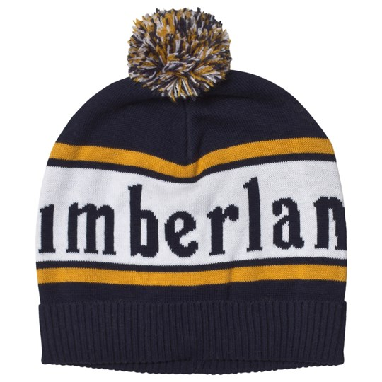 Timberland Navy and Yellow Branded Pom-Pom Beanie 85T