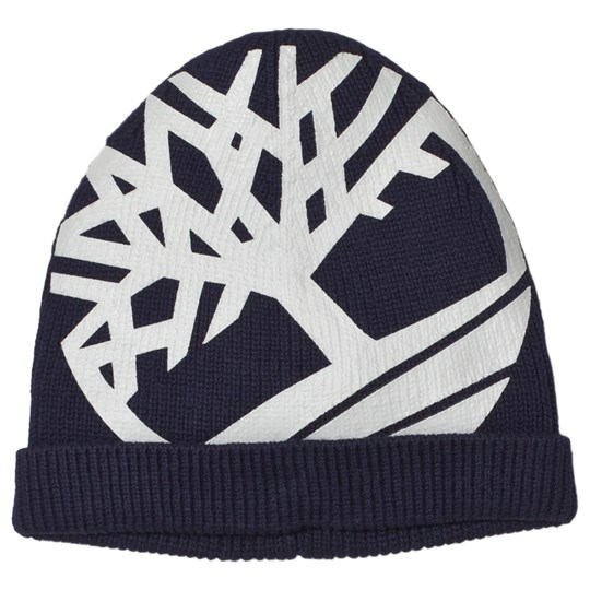 Timberland Navy Big Tree Logo Knit Beanie 85T