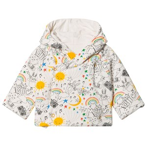 Image of The Bonnie Mob Biffy Reversible Padded Baby Jacket With Hood Rainbow Print 12-18 mdr (3065556223)