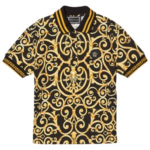 Image of Young Versace Black and Gold Baroque Print Polo with Medusa Plaque 4 years (3065519689)