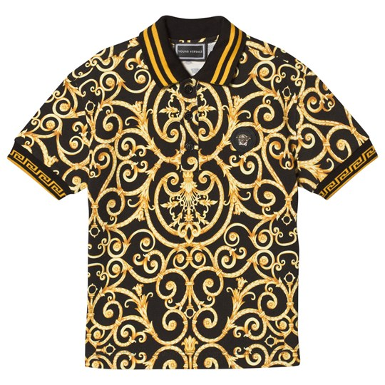 Versace Black and Gold Baroque Print Polo 4214