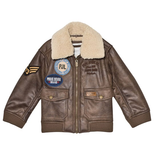Pepe Jeans Brown Todd Patches Aviator Pleather Jacket 877