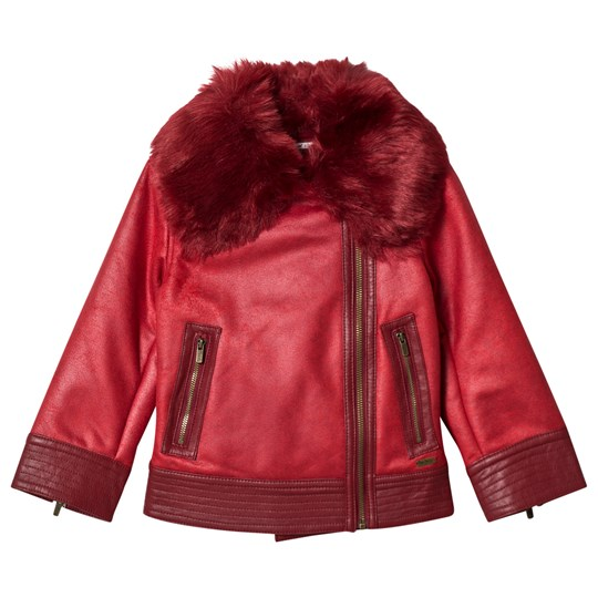 Pepe Jeans Red Arcadia Faux Fur Pleather Aviator Jacket 280