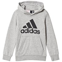 adidas Performance Grey Branded Pull Over Hoodie MEDIUM GREY HEATHER BLACK d86a6da93a