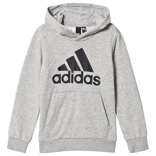 adidas Performance Branded Pull Over Huvtröja Grå MEDIUM GREY HEATHER/BLACK