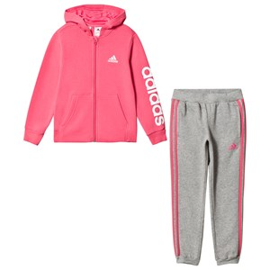 Image of adidas Performance Pink & Grey Kids Branded Tracksuit 18-24 months (92 cm) (3065521973)