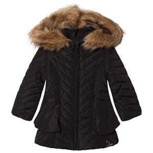 Image of Catimini Black Chevron Quilted Frill Hooded Coat 10 years (3065525949)