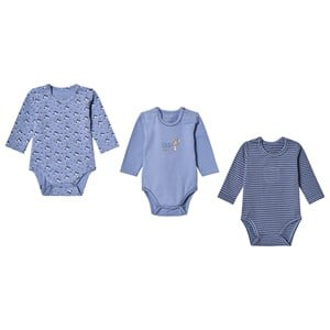 Image of Hust&Claire 3-Pack Base Baby Body Blue 56 cm (1-2 mdr) (3066371673)