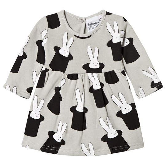 Tobias & The Bear Grey Rabbit in a Hat Dress Black/White on Grey