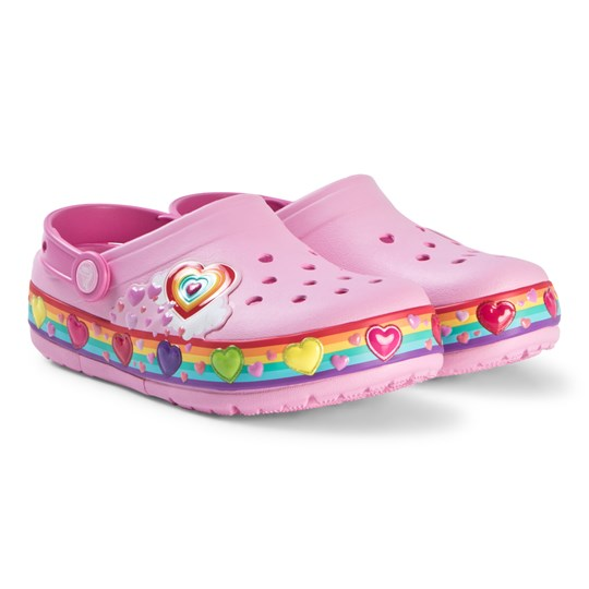 Crocs Pink Fun Lab Love Heart Clogs Carnation