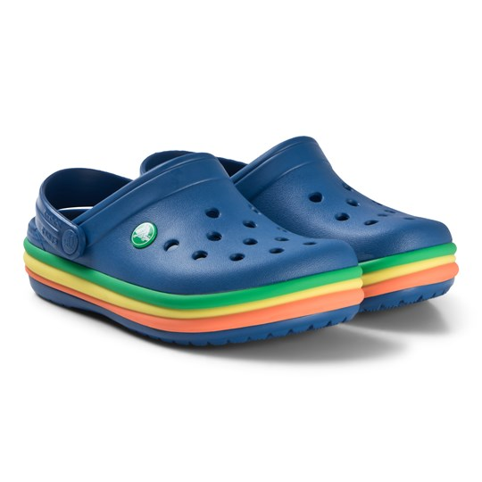 Crocs Navy Rainbow Stripe Clogs Blue Jean