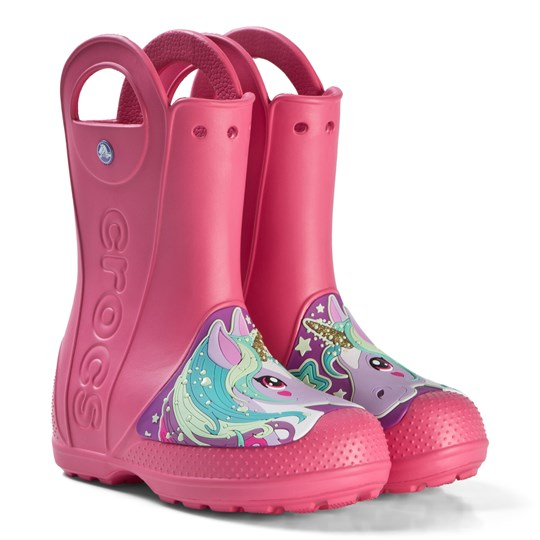 74eb57a9a64db5 Crocs - Paradise Pink Unicorn Handle It Rain Boots - Babyshop.com