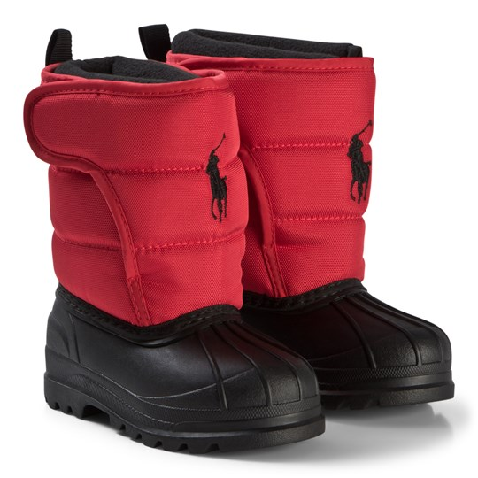 Ralph Lauren Red Nylon Hamilton II EZ Ski Boots Red